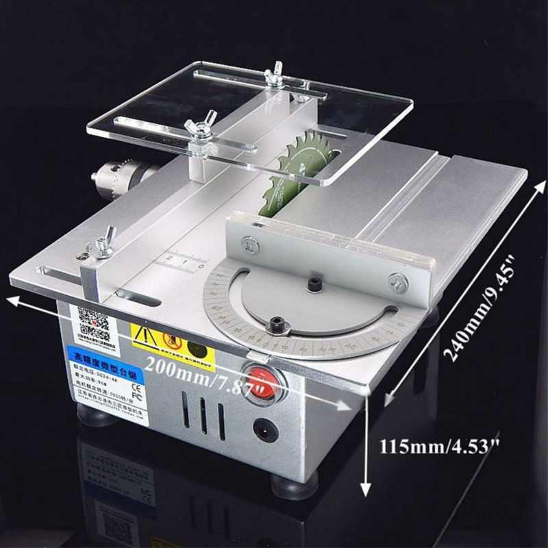 Aluminium Miniatur Meja Melihat Mesin Pemotong Presisi Tinggi DC 24 V 7000 RPM DIY Model Presisi Pertukangan Gergaji Chainsaw Cutter