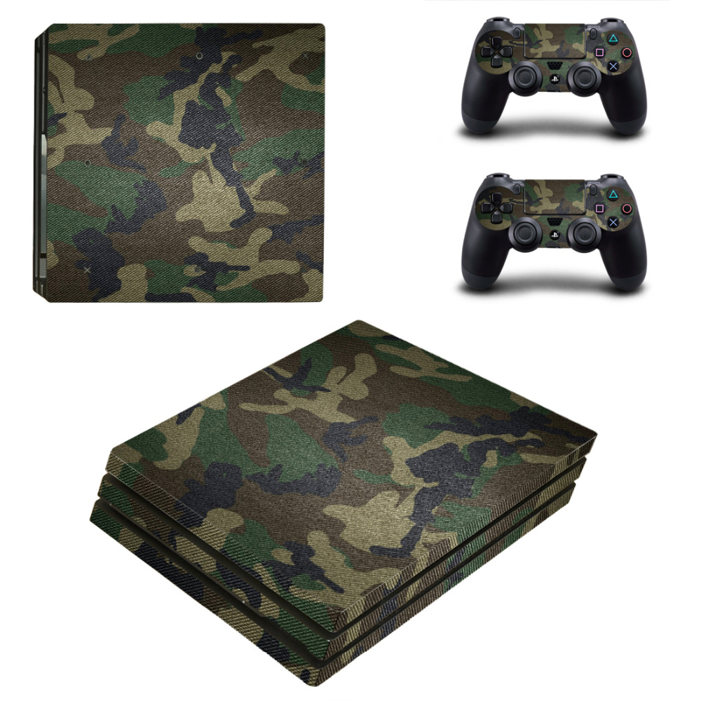 Removable Vinyl pattern Skin Sticker For PlayStation 4 Pro PS4 Pro+2Pcs Sticker Controller Cover Decals Protector-Camouflage