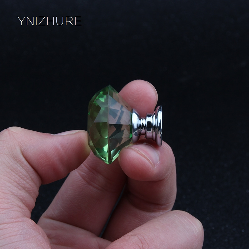 2018 Sale 10pcs 30mm K9 Green Clear Crystal Sparkle Diamond Cabinet Knobs And Handles Dresser Drawer Door Knob For Furniture