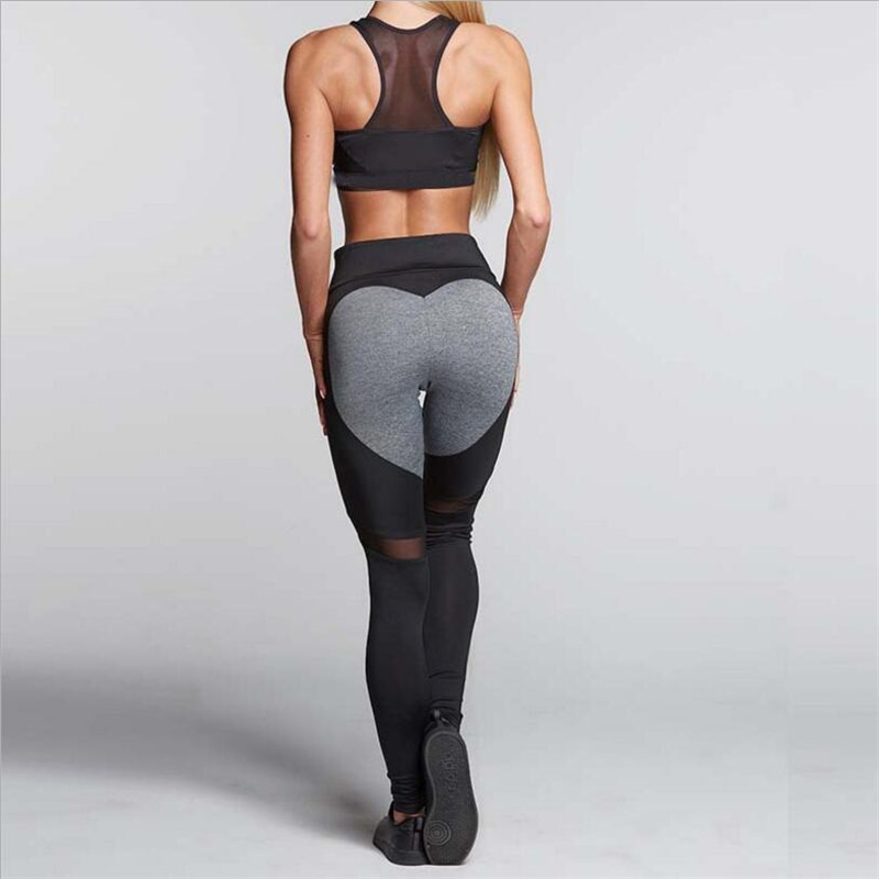 Heart Shaped Pattern Mesh Stitching High Waist Skinny Ankle Length Leggings Casual Sweat Absorbing Breathable 2 Colors Selling