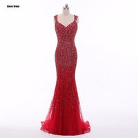 CloverBridal high quality red mermaid famous celebrity dresses 2017 evening party gorgeous beading sequins stones acrylic
