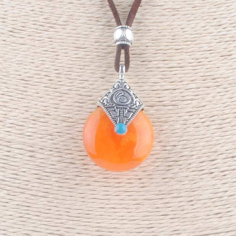 466dead1e6c7 Resina Water Drop Colgantes del Collar de Imitación de Cera Miel Nepal  india Amu