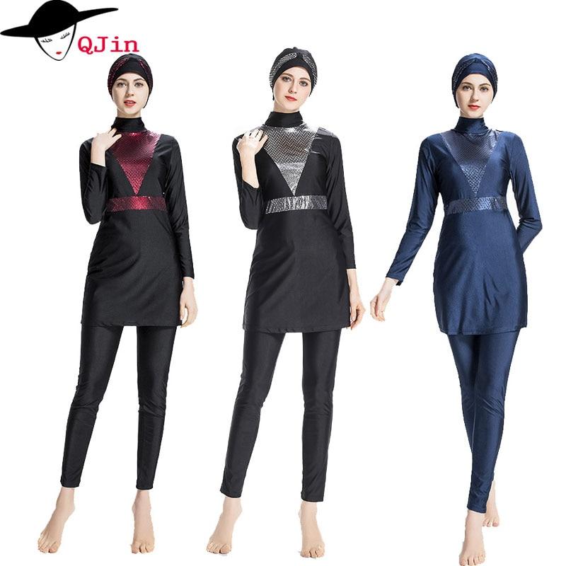 Modest Muslim Swimwear Hijab Muslimah Women Plus Size Islamic Swim Wear Swimsuit Surf Wear Sport Burkinis Arab Beach Wear three