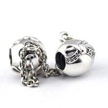 Original 925 granos adapta Pandora plata pulseras de los encantos arco cadena de seguridad plata con cúbica circón venta al por mayor