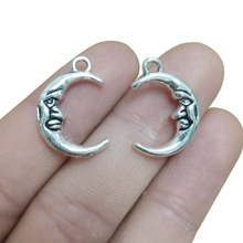 TJP 20pcs Antique Silver Tone Crescent Moon Charms Pendants Beads for Bracelet DIY Jewelry Making Findings 15x22mm