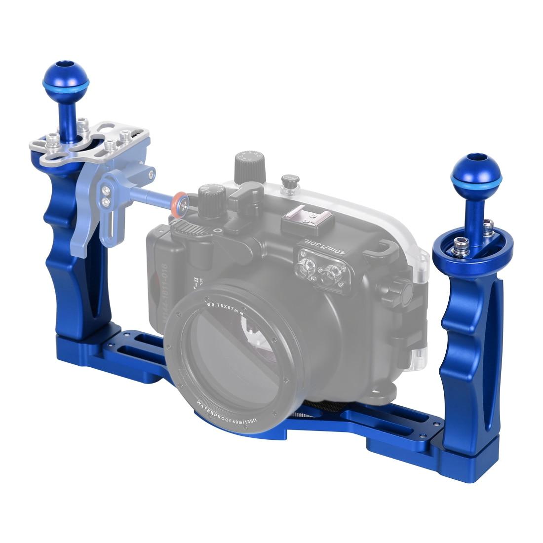 Stabilisateur de plateau en alliage d'aluminium à double poignées PULUZ pour caméra d'action Gopro boîtiers de caméra numérique DSLR sous-marine pour téléphone portable