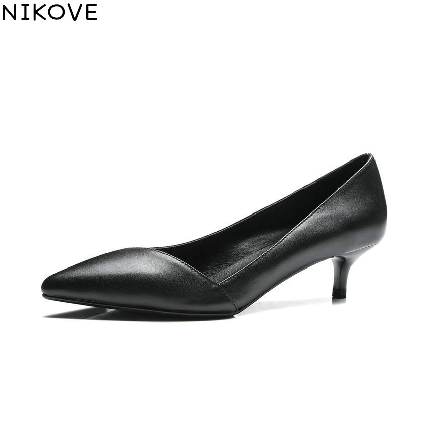 NIKOVE 2018 Women Pumps Spring and Autumn Cow Leather PU Shoes Slip on Pointed Toe Thin Med Heels Pumps Women Shoes Size 34-41 enmayer spring autumn women fashion party rhinestone beading pumps shoes pointed toe slip on thin heels large size 34 43 beige