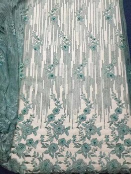 Latest African Lace fabric 2017 Simple Design French Tulle Lace With Beads Nigerian Embroidered French Lace Fabric For Wedding
