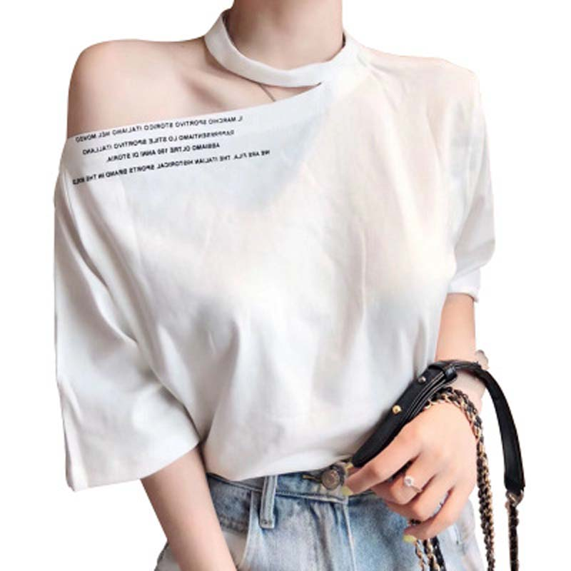 T shirt New style summer dress cotton fashion shoulder less T shirt short sleeve loose neck skirt shoulder jacket half sleeve in T Shirts from Women 39 s Clothing