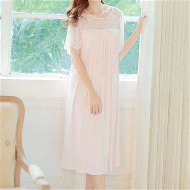 Outono Rosa Lace Nightgowns Sexy Meia Casa Vestido Sono Modal Camisas Sólidos Roupa Interior Confortável Camisola Feminina # HH22