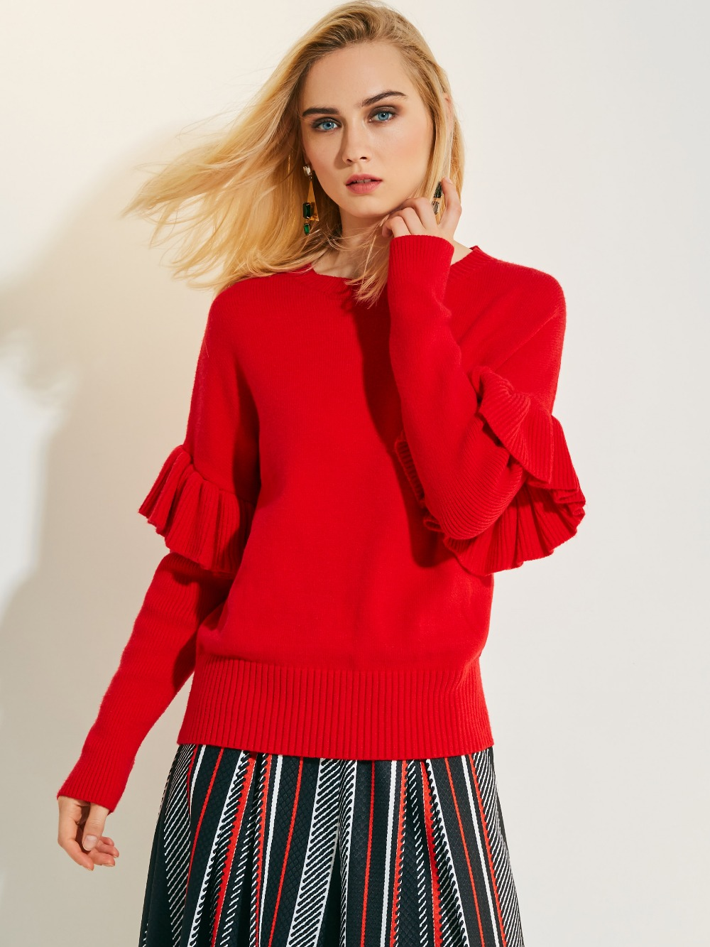 Red Pullover sweater Women 2017 Autumn Long Sleeve O neck Womens Jumpers Slim Sweaters Slim Bodycon Tops Ruffles Sweater