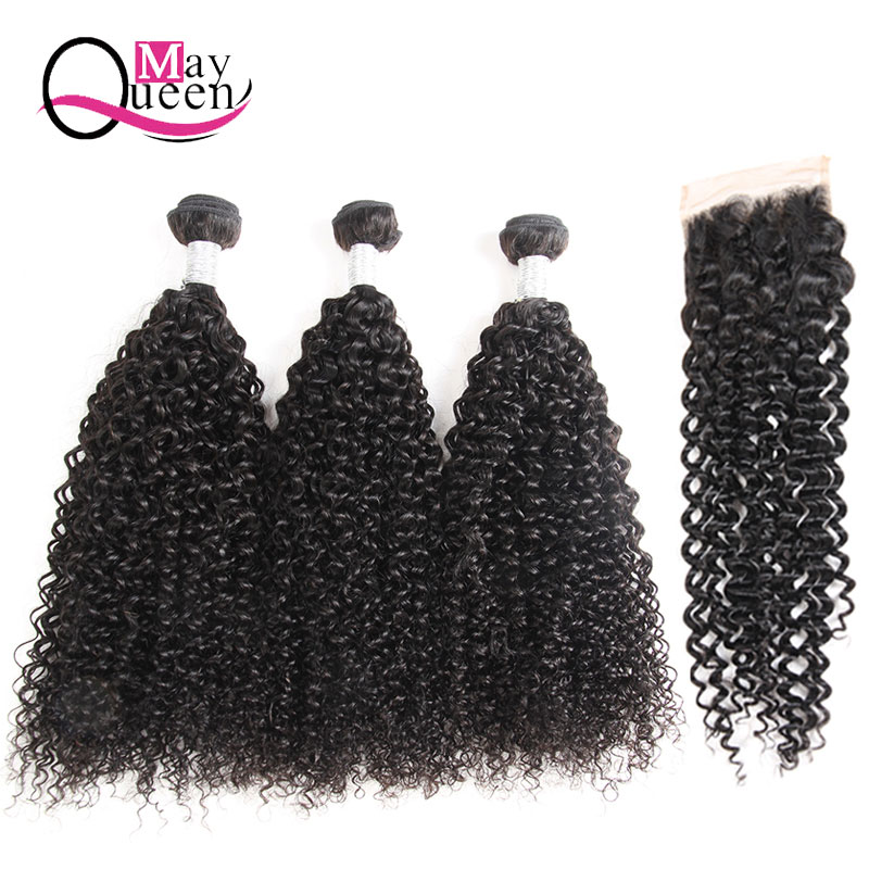 May Queen Hair Kinky Curly Weave Human Hair Bundles with Lace Closure Indian Hair Weave 3 Bundles with 4*4 Lace Closure