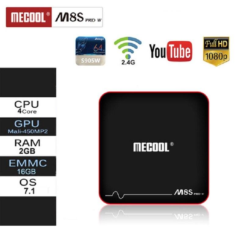 Mecool M8S PRO W décodeur Android 2.4G contrôle vocal S905W Android 7.1 4 k FullHD Android Set Top Box IPTV boîtier de smart tv