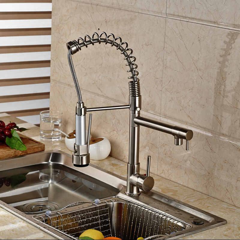 Ulgksd LED Brushed Kitchen Faucet Pull Down Sprayer Flexible Hose ...
