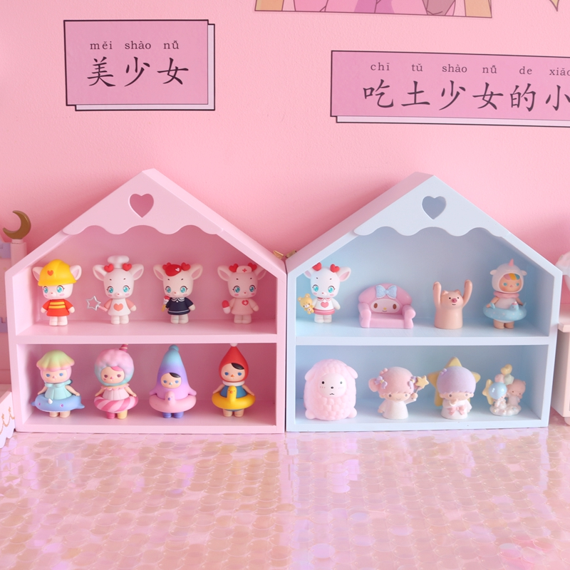 1PC Wooden Cosmetics Organizer Storage Shelf Wall Hanging Display Shelves Dolls Collection For Girls