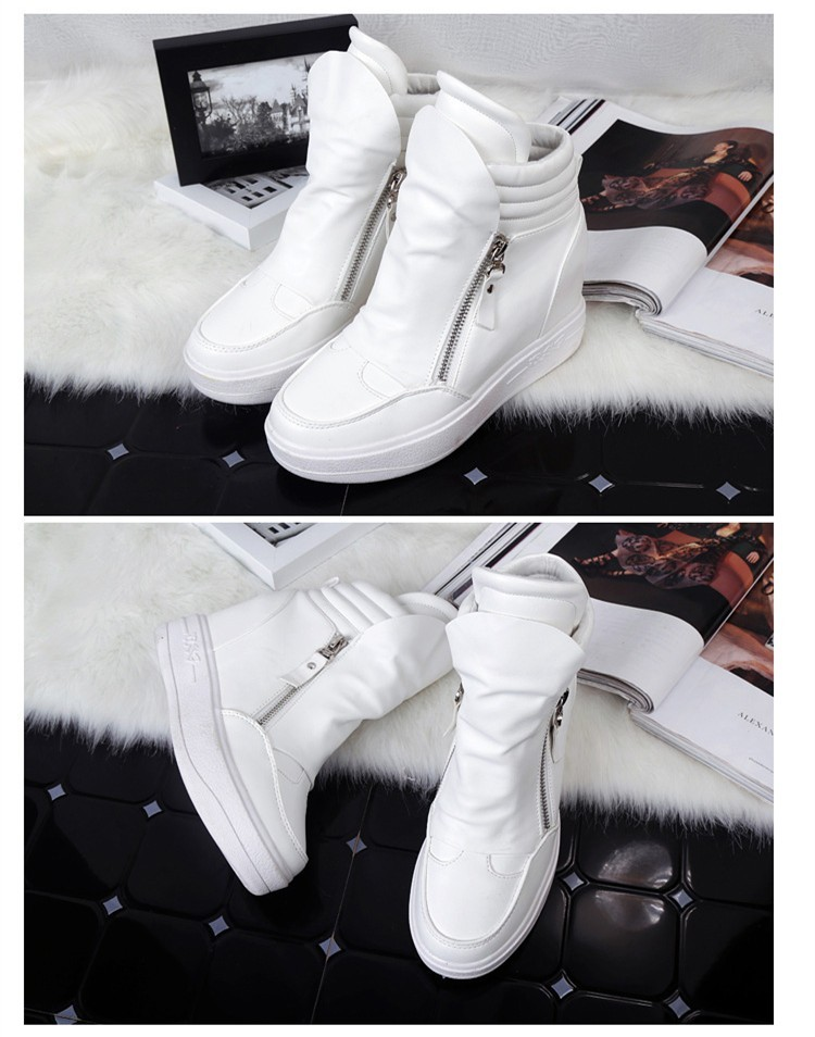 KUYUPP Women Casual Shoes Height Increasing Zipper Winter Shoes Women Sport Canvas Shoes Round Toe Black White Casual Shoes S49 (34)
