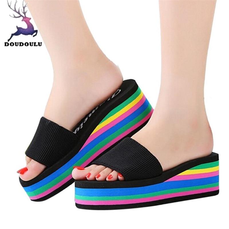 100% Wahr Hausschuhe Frauen Regenbogen Rutschfeste Sandalen Weiblichen Strand Hausschuhe Casual Rutschfeste Hausschuhe Schuhe Frau Zapatos Mujer 36 ~ 40