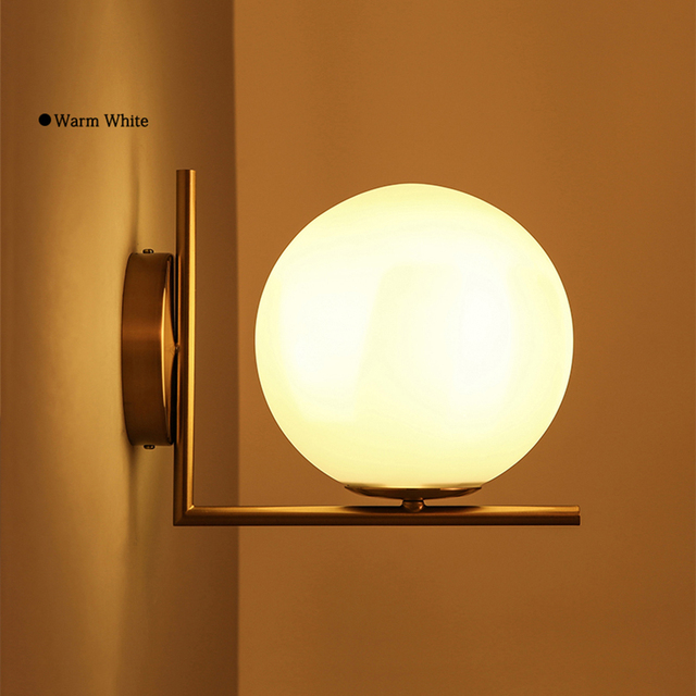 Modern Minimalist Led Wall Lights Round Ball Metal White Gl Shade Bedroom Mounted Lamparas
