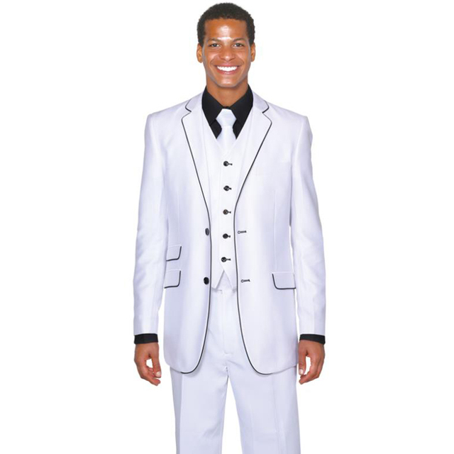 Custom Made Groom Tuxedo Two Buttons Groomsmen white Notch Lapel ...