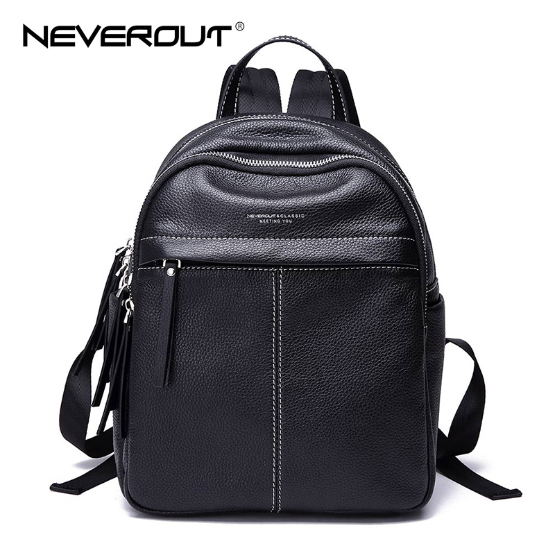 NeverOut Fashion Brand Travel Bags Women Genuine Leather Origin Design Backpack Solid Ladies Backpacks Casual Bags Female Bag