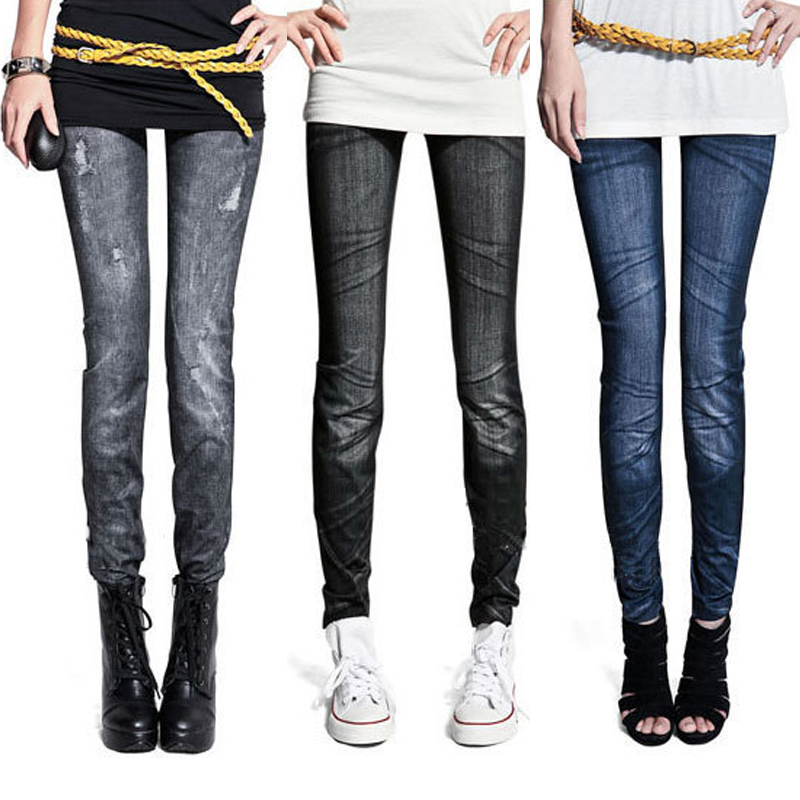Fashion Women Skintight Abrasion Print Imitated Jeans Trendy   Leggings   Elastic Pants Ankle-Length Thin Female Trousers Sexy Pants