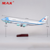 For Collection 1/150 Scale Diecast Airplane Model Boeing 747 with Landing Gear Voice Control Cabin Light Aircraft Model