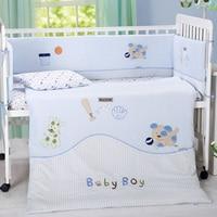 7 шт. для малышей качество спальня детские постельные принадлежности из хлопка и бархата животных вышивка Новорожденные кроватка постельны
