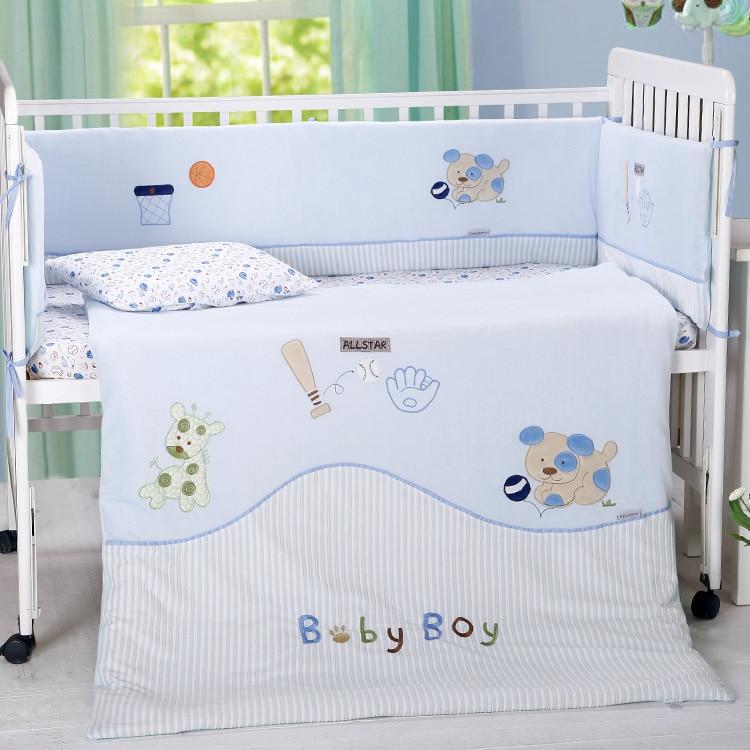 7 ცალი ჩვილი ჩვილის ხარისხის საძინებელი საბავშვო საწოლები კომპლექტი ბამბა ხავერდოვანი ცხოველი ნაქარგები ახალშობილი ბავშვის საწოლი საწოლები