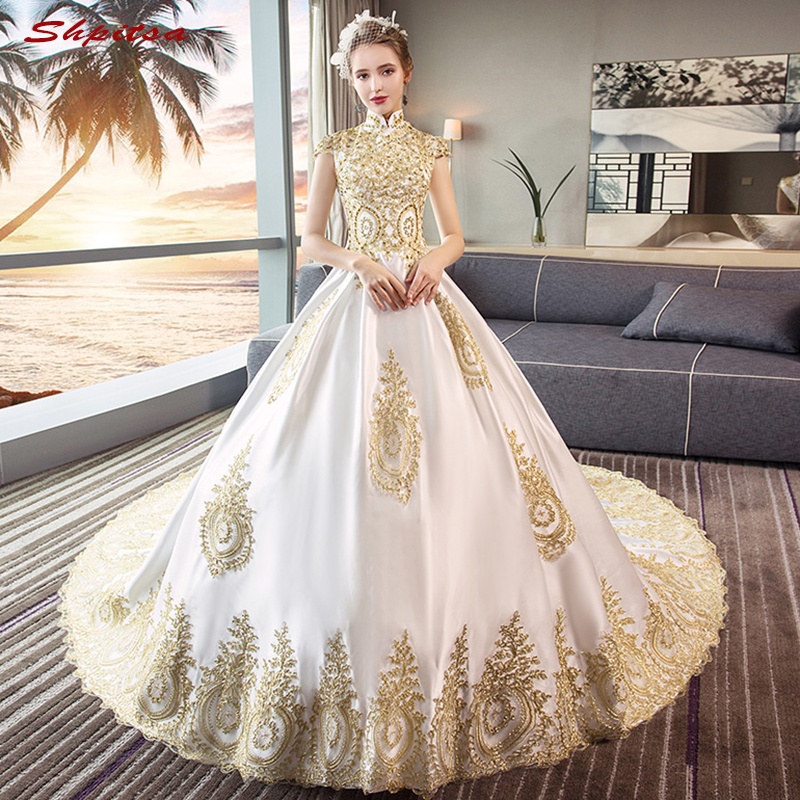 Luxury Ball Gown Wedding Dresses Plus Size Satin Turkey Lace Arabic Bride Bridal Weding Weeding Dresses Wedding Gowns 2019