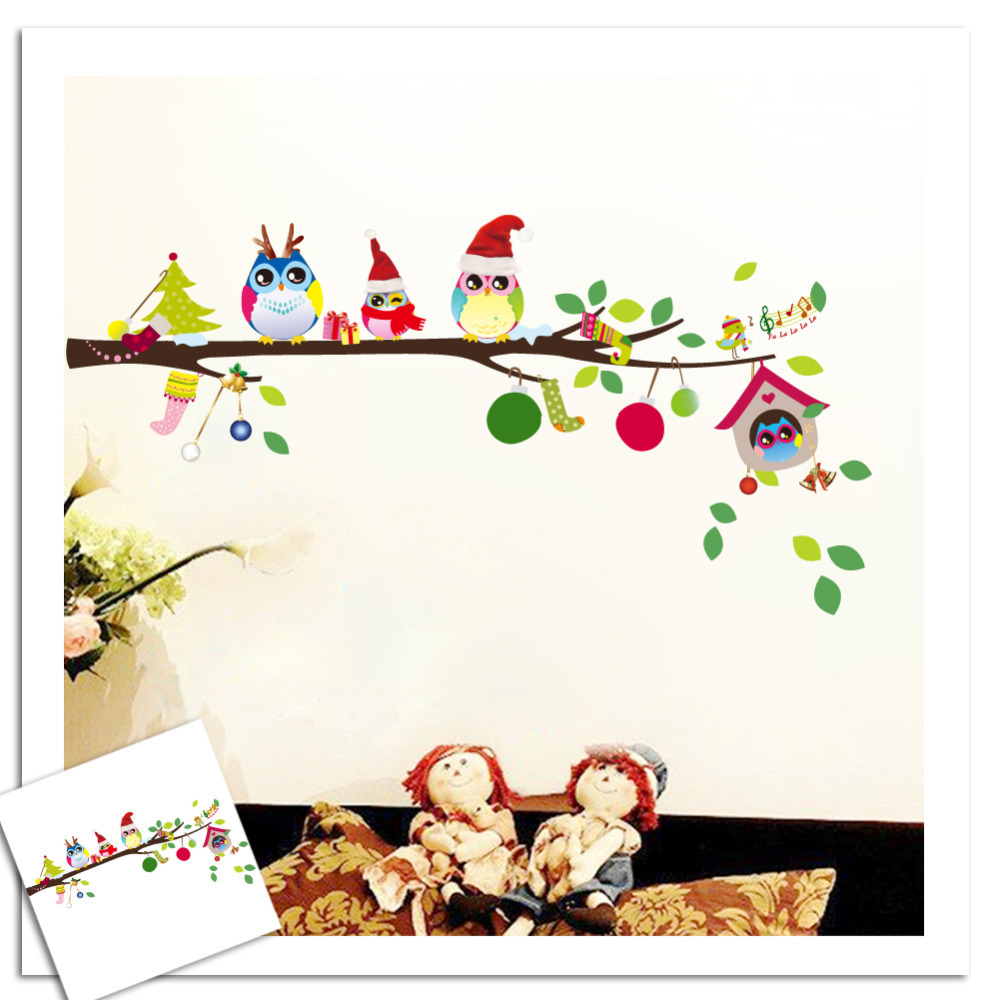 Owls on tree wall stickers for kids rooms for Stickers para pared