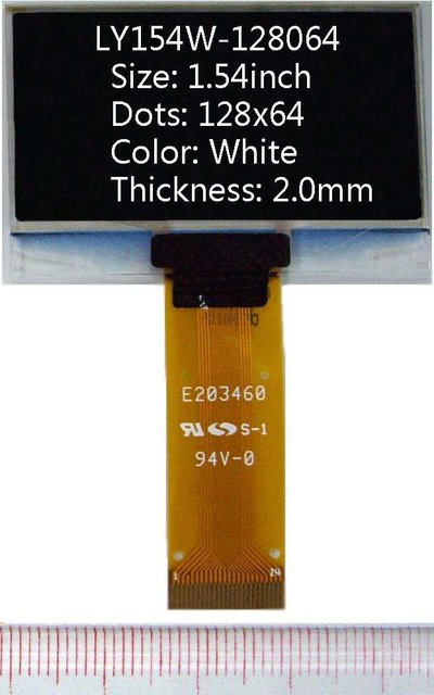 1.54 inch 128x64 White 2mm(thickness) oled display LCD