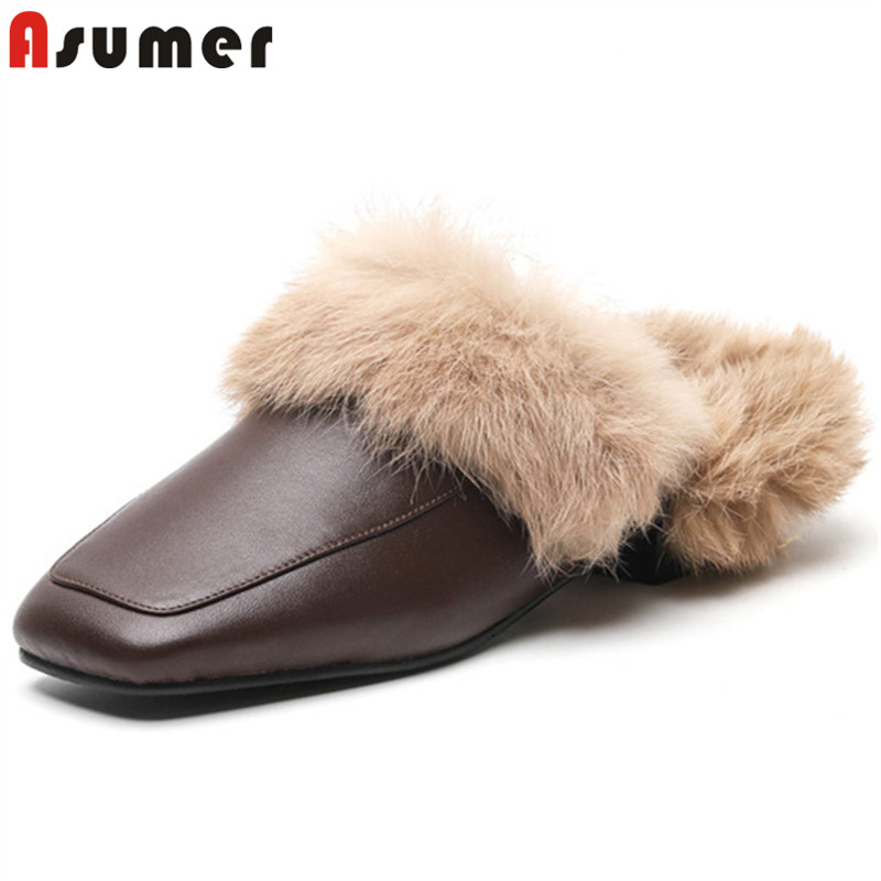 ASUMER fashion square toe shallow slippers women autumn winter shoes woman low heels genuine leather shoes fur casual mules asumer red black fashion spring autumn shoes woman round toe shallow casual square heel patent leather women low heels shoes