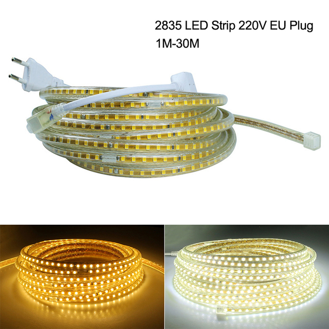220V LED Strip Indoor 1M 5M 10M 2835 LED Strips Light 120LEDs/M Outdoor IP65 Waterproof Flexible LED Tape Ribbon Back Lighting