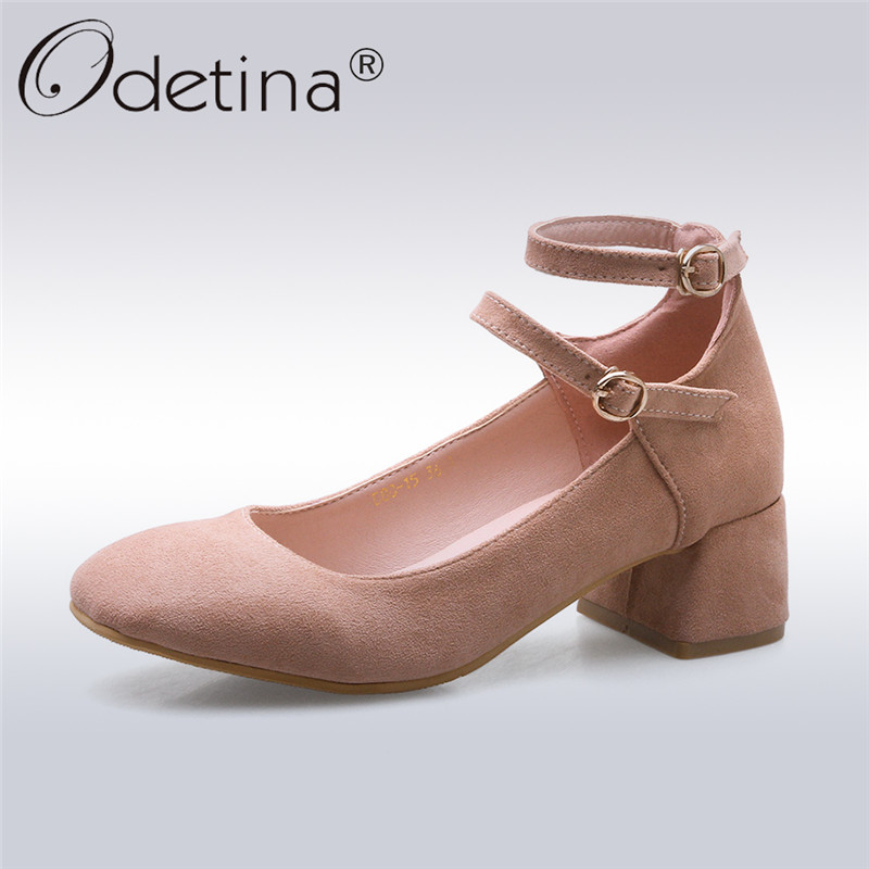 Odetina 2018 New Fashion Women Ankle Strap Pumps Mary Janes Square Toe Shoes Female Square Heels Buckle Strap Pumps Big Size 46 цена 2017