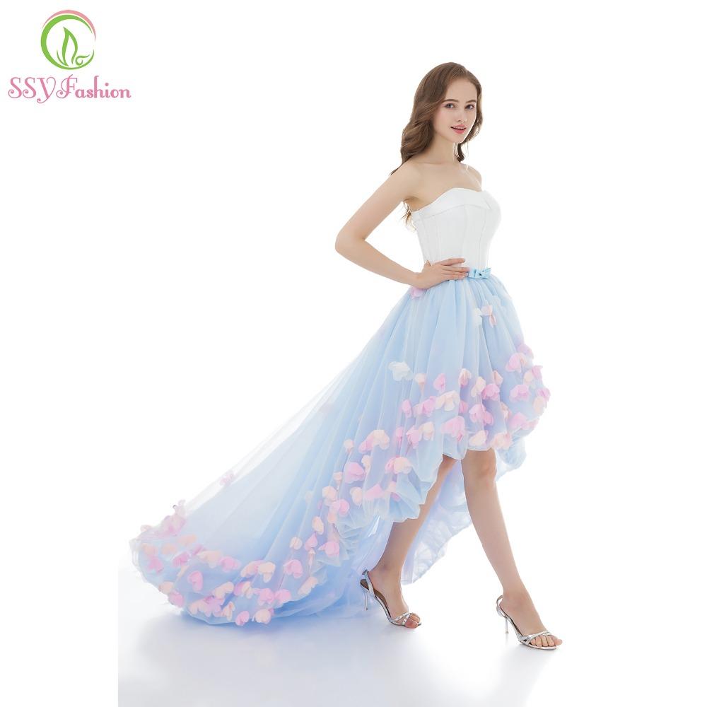 ssyfashion платья сексуальная бретелек рукавов короткое спереди и длинное сзади кружевное платье с цветочным рисунком вечернее платье невесты для торжеств официальная вечеринка платья