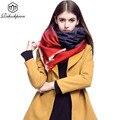 Rihschpiece 2016 Invierno Bufanda Ponchos y capas de Las Mujeres de Lujo Marca Chales y Bufandas de Cachemira de la Tela Escocesa de Gran Tamaño Caliente RZF383