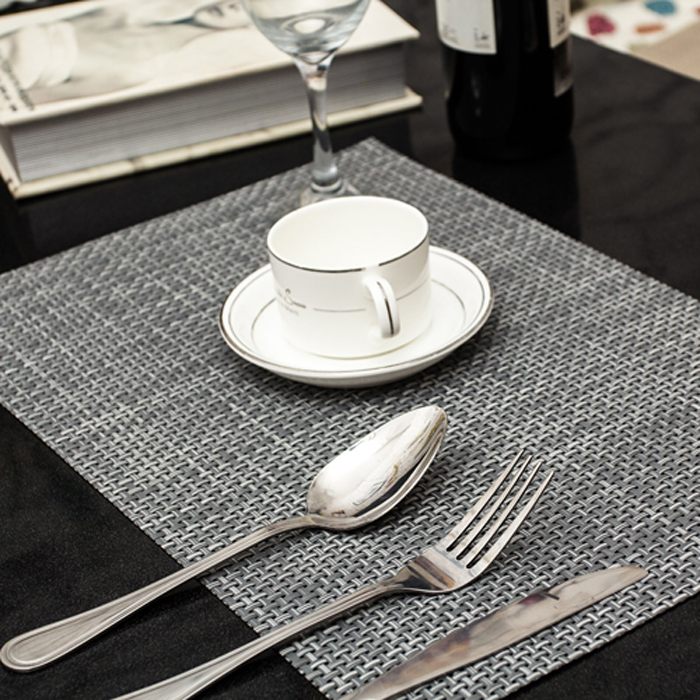 4 pcs lot weave placemat fashion pvc dining table mat disc pads bowl pad coasters waterproof - Dining room table mats ...