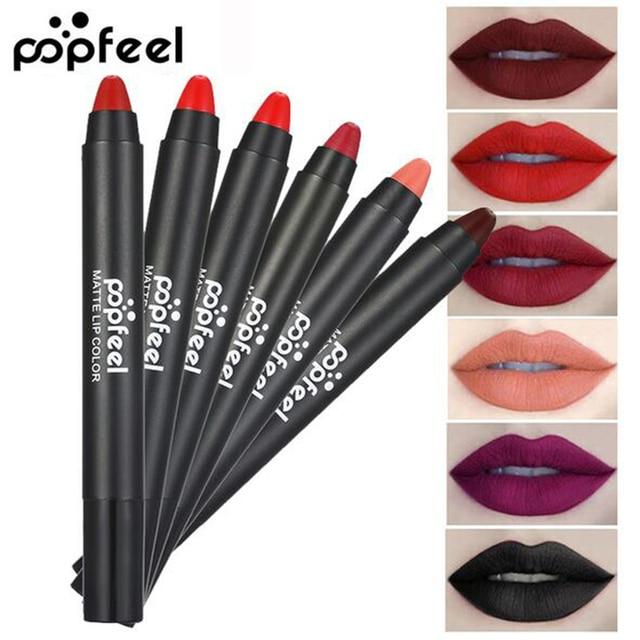 Popfeel mate impermeable lápiz labial las mujeres belleza maquillaje de labios cosmética 12 colores de larga duración desnudo delineador lápiz labial brillo de labios