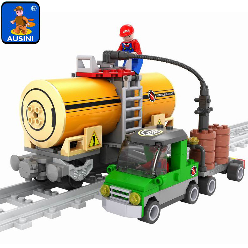 25414 AUSINI City Train Mobile Gas Station Model Building Blocks Enlighten Figure Toys For Children Compatible Legoe 1916 enlighten city water police station series plan breakout model building blocks figure toys for children compatible legoe