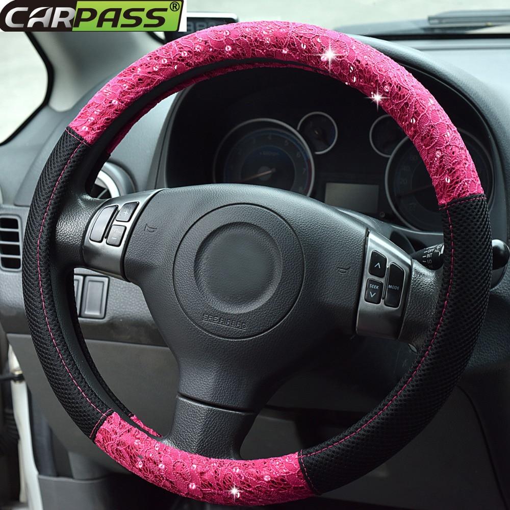 Auto stūres rata pārsegs Lace un mākslīgās ādas zaļš sarkanā krāsā automašīnu aksesuāri meitenes auto stūres vākam Toyota