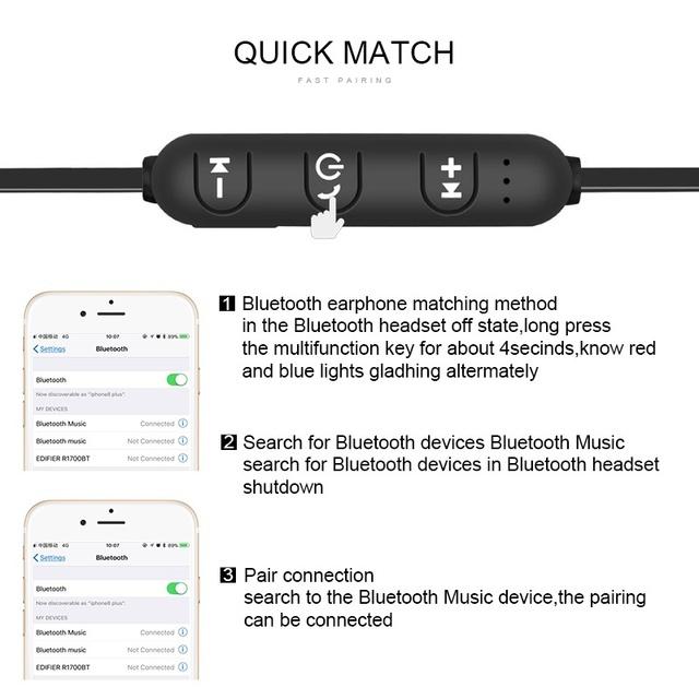 Sports wireless bluetooth earphones for xiaomi Headset Bluetooth 4.1 Headphones for iPhone Samsung Smart Magnetic Earpiece