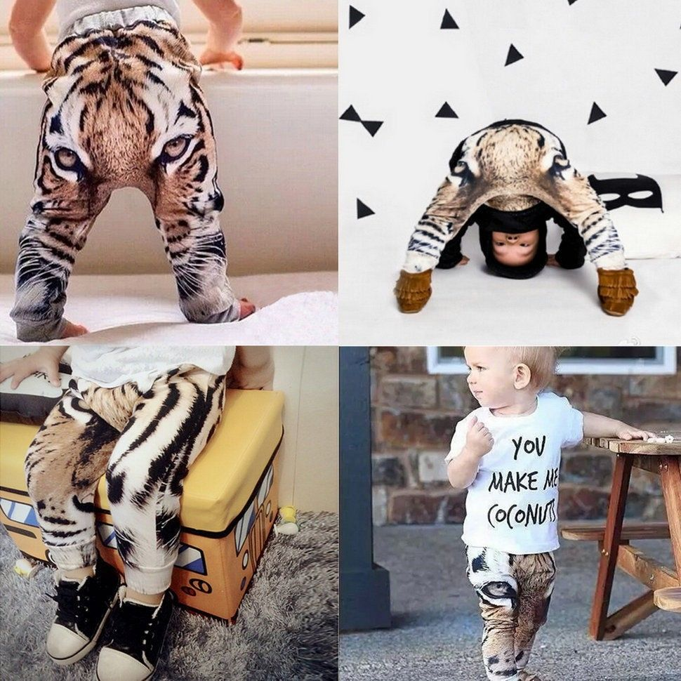 dee695b4c001 Real Photo!2015 New baby Girls Boys Pants 3D Digital Tiger Printed Baby  Harem Pants baby Boy Girl Kids Children Trousers-in Pants from Mother & Kids  on ...