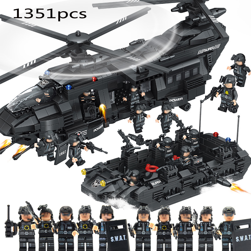 Compatible 1351pcs Swat team model building blocks Chinook transport helicopter Educational Bricks Kids Toys DIY military army war special police force ch 47 chinook helicopter building blocks sets bricks model kids toys compatible legoe