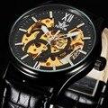 2016 de design DA MARCA SEWOR skeleton man masculino esporte relógio de couro de negócios mecânico automático auto vento relógio de pulso de moda de luxo