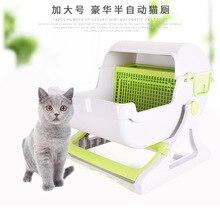 Очень большой полузакрытый мусорный ящик высококачественный пластиковый Туалет для домашних животных полуавтоматический кошачий Туалет