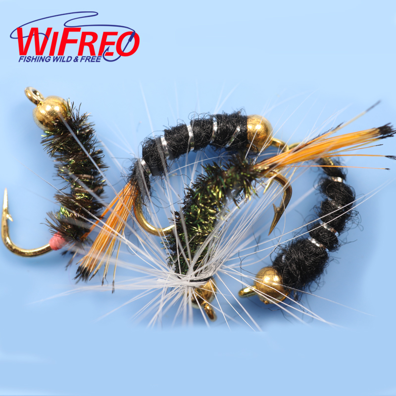 40PCS 12# Wifreo Free Box Caddis Pupa Larva Midge And Buzzers Bead Head Nymphs Flies Salmon Trout Fly Fishing Lures 10pcs beadhead pm caddis 14 nymphs dry fly fishing trout flies