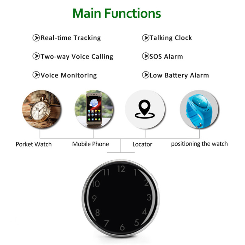 Mini Child GPS Tracker Pocket Watch A12 Adults Older Pocket Locator Clock Tracking Device SOS Alarm Voice Monitor 40MAY1505