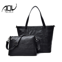 New 2 Pieces Sets Women Handbags Large Capacity Causal Tote Bag For Ladies Leather Shoulder Bag