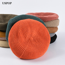 USPOP 2019 Spring berets for women casual breathable knitted beret hat fashion solid color vintage painter hats