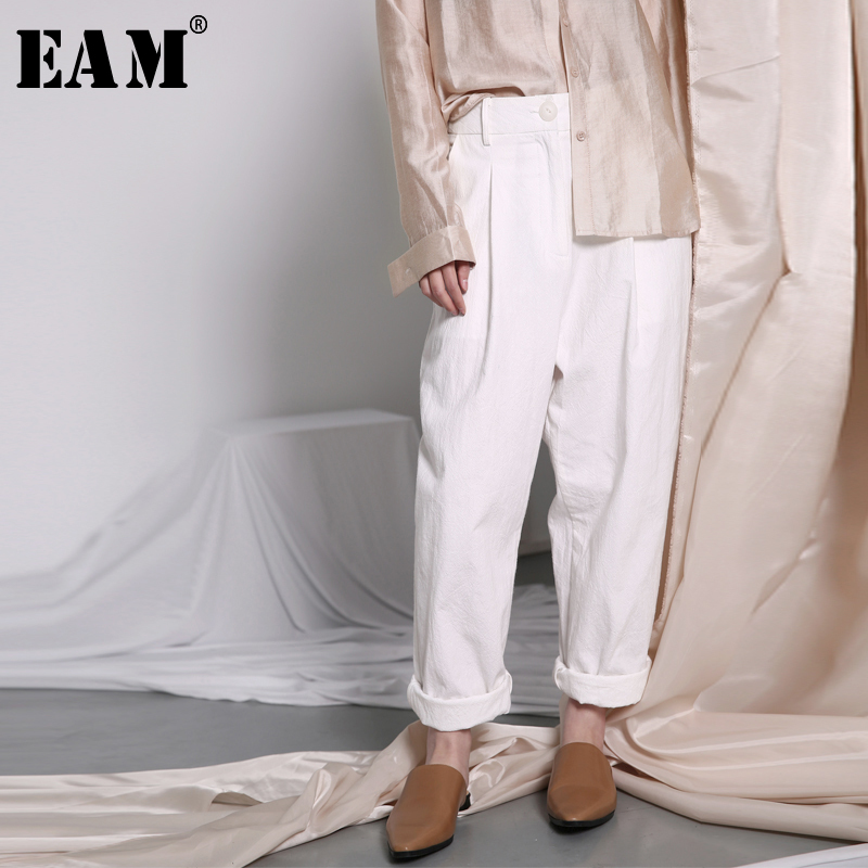 [EAM] 2018 Весенняя мода Новый черный, белый цвет раза высокое карман талии свободные haremPants прилив все матч Для женщин брюки YC318